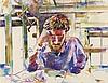 SAMUEL BURI (NE EN 1935)  PORTRAIT DE BATZ, 1980  Aquarelle sur papier  Sig, Samuel Buri, €600