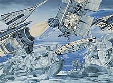 ERRO (NE EN 1935)   (GUDMUNDUR ERROT DIT)  PROGRAMME SPATIAL, 1976  Collage