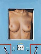 PETER KLASEN (NE EN 1935)  NU / AMPEREMETRE FOND BLEU, 1973  Acrylique sur
