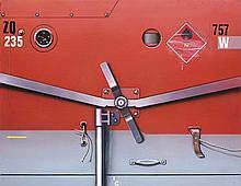 PETER KLASEN (NE EN 1935)  WAGON SNCF GRIS/ROUGE ZQ 235, 1979  Acrylique su