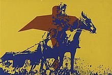 IVAN MESSAC  (NE EN 1948)  L'AIGLE ET LE CHEVAL, 1972  Acrylique sur papier