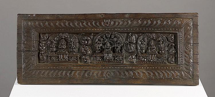Couverture De Livre Tibet Ca 14 16 Siecle Bois 15 X 38 Cm