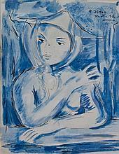VICTOR MANUEL GARCIA (1867-1969) MUCHACHA AZUL Technique mixte sur cartolin