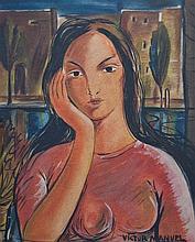 VICTOR MANUEL GARCIA (1867-1969) SANS TITRE Technique mixte sur cartoline S