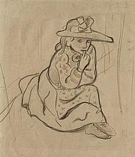 PAUL SÉRUSIER (1864-1927)   FILLETTE ASSISE AU CHAPEAU À RUBANS, CIRCA 1891
