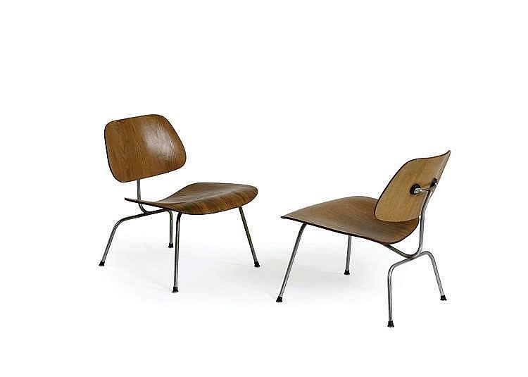 charles et ray eames paire de chaises basses lcm