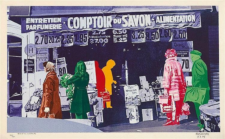 GERARD FROMANGER (NE EN 1939) LA VIE EST UNE MARCHANDISE, 1974 Lithogr