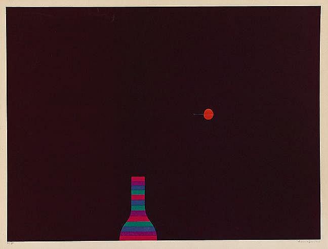 YOZO HAMAGUCHI (1909-2000) CERISE ET BOUTEILLE Mezzotinte en couleurs