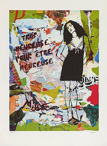 MISS TIC (NE EN 1956) TROP HEUREUSE POUR ETRE PEUREUSE, 2008 Sérigraph