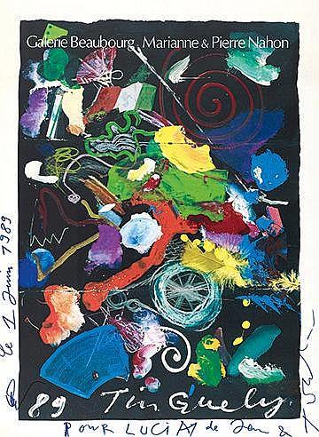 JEAN TINGUELY (1925-1991) SANS TITRE Affiche signée, datée le 1 juin 1