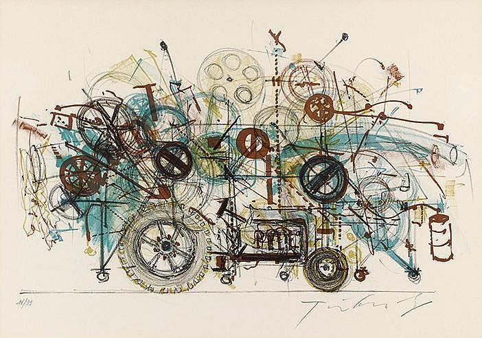 JEAN TINGUELY (1925-1991) KLAMAUK, 1979 Lithographie en couleurs sur v