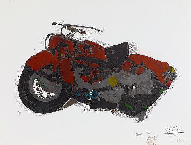 CESAR (1921-1998) COMPRESSION DE MOTO, 1972 Sérigraphie en couleurs su