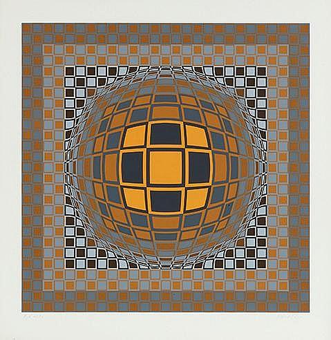 VICTOR VASARELY (1906-1997) ZENG Sérigraphie en couleurs sur vélin Sig