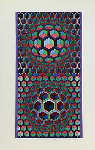 VICTOR VASARELY (1906-1997) SEMIHA Sérigraphie en couleurs sur vélin S