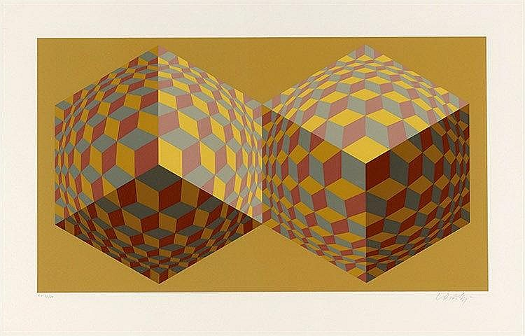 VICTOR VASARELY (1906-1997) DOUBLE SPHERES, 1980 Sérigraphie en couleu