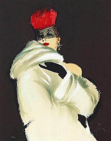 RENE GRUAU (1909-2004) LA TOQUE ROUGE, 1988 Lithographie en couleurs s