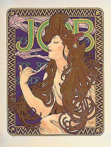 D'APRES ALPHONSE MUCHA (1860-1939) JOB Lithographie en couleurs sur vé