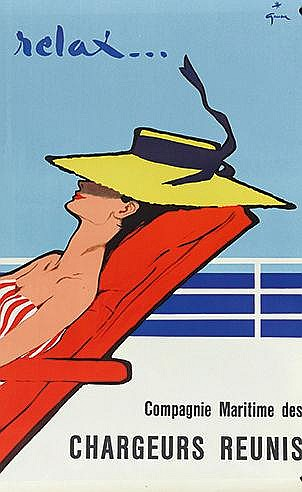 RENE GRUAU (1909-2004) RELAX… CIRCA 1950 Affiche en couleurs signée da