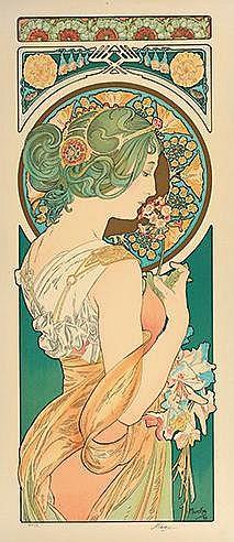 D'APRES ALPHONSE MUCHA (1860-1939) LA PRIMEVERE ET LA PLUME Ensemble d