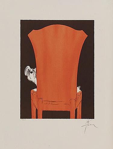 RENE GRUAU (1909-2004) LE FAUTEUIL, 1990 Lithographie en couleurs sur