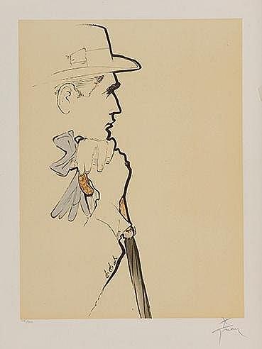 RENE GRUAU (1909-2004) PROFIL MASCULIN, 1990 Lithographie en couleurs