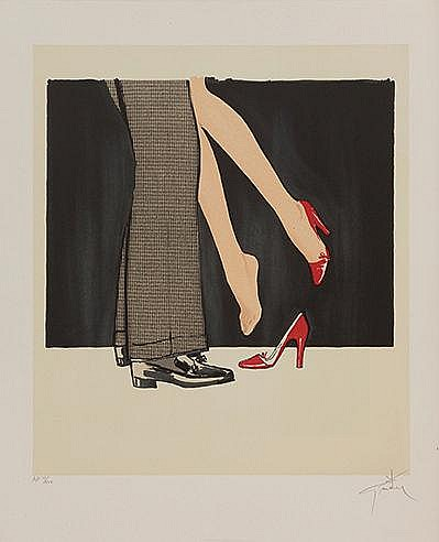 RENE GRUAU (1909-2004) ESCARPINS ROUGES, 1990 Lithographie en couleurs