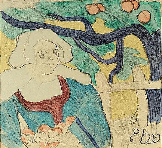 EMILE BERNARD (1968-1941) LA CUEILLETTE DES POMMES, 1889 (Morane, 17)