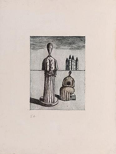 GIORGIO DE CHIRICO (1888-1978) DUALITÉ, LES MUSES INQUIÉTANTES, 1975 (