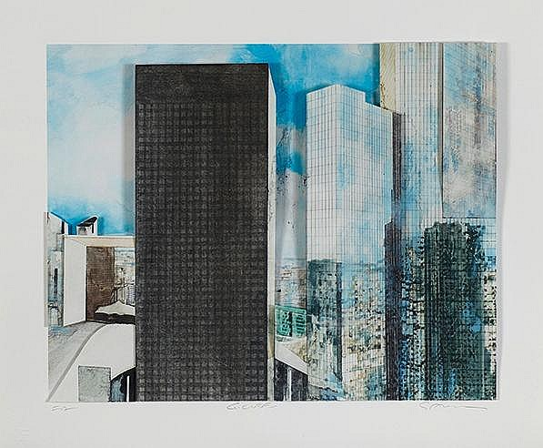 GOTTFRIED SALZMANN (NE EN 1943) LA DEFENSE, 2016 Lithographie et colla