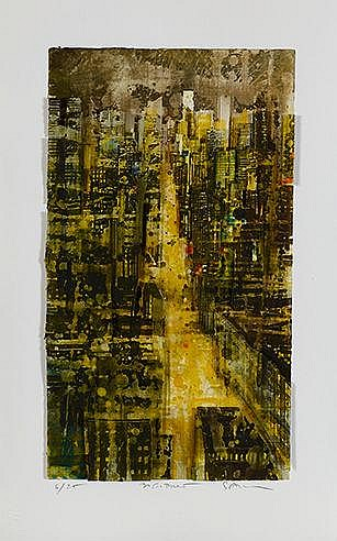 GOTTFRIED SALZMANN (NE EN 1943) NEW YORK, 2016 Lithographie et collage