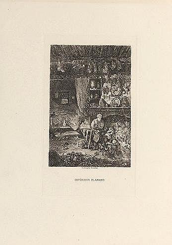RODOLPHE BRESDIN (1822-1885) INTERIEUR FLAMAND (Van Gelder, 86) Eau-fo