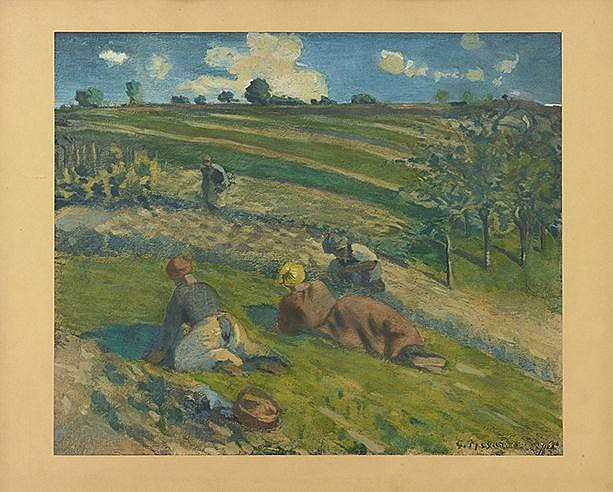D'APRES CAMILLE PISSARRO (1830-1903) LES SEMEUSES Offset en couleurs s