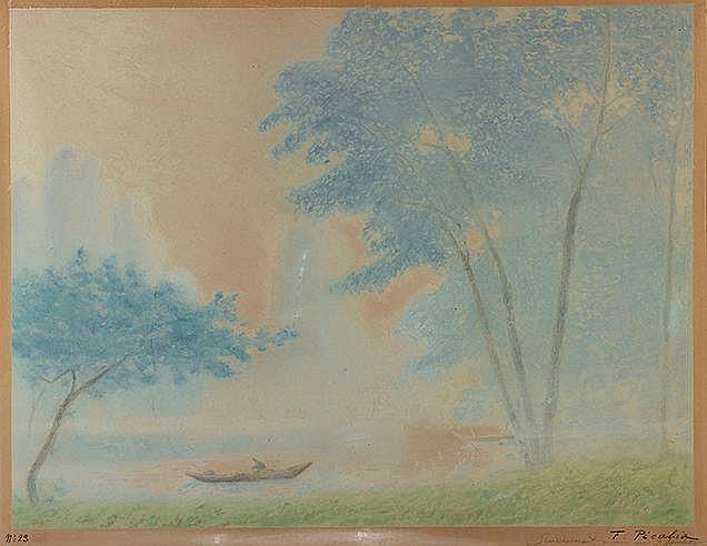 FRANCIS PICABIA (1879-1953) BARQUES AU BORD D'UNE RIVIERE, CIRCA 1905
