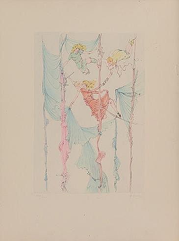 HANS BELLMER (1902-1975) SANS TITRE Eau forte et pointe sèche en coule