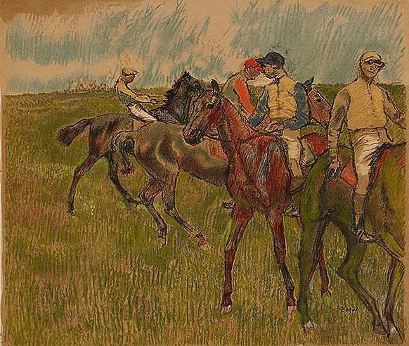 D'APRES EDGAR DEGAS (1834-1917) AVANT LA COURSE, 1910 Lithographie en
