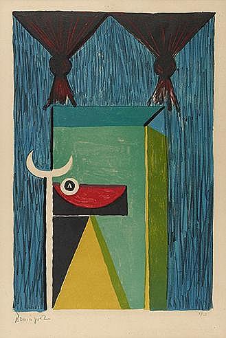 OSCAR DOMINGUEZ (1906-1957) TAUROMACHIE, 1950 Lithographie en couleurs