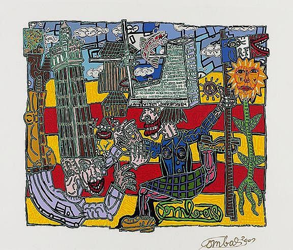 ROBERT COMBAS (NE EN 1957) SANS TITRE, 2001 Sérigraphie en couleurs av