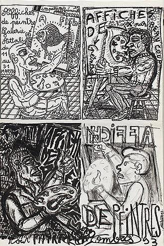 ROBERT COMBAS (NE EN 1959) AFFICHE DE PEINTRES, 1993 Affiche lithograp