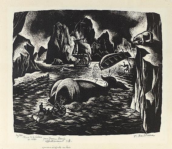 JACQUES BOULLAIRE (1893-1973) LA CHASSE A LA BALEINE EN 1840 Bois grav