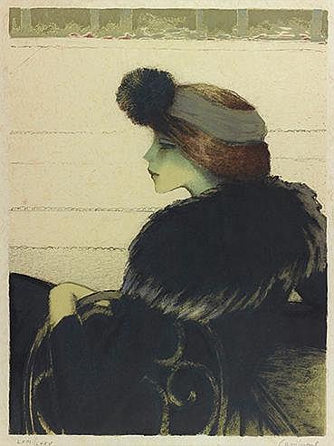 JEAN-PIERRE CASSIGNEUL (NE EN 1935) ELEGANTE AU TURBAN Lithographie en