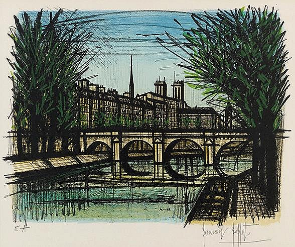 BERNARD BUFFET (1928-1999) LE PONT NEUF, 1968 (Sorlier, 124) Lithograp