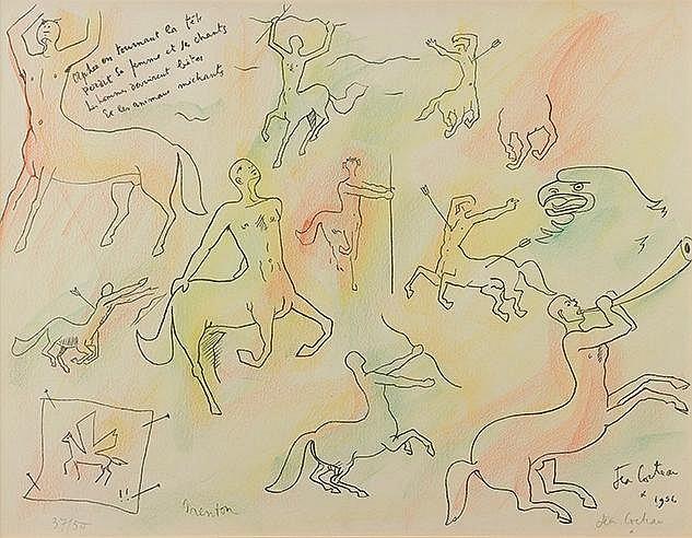 JEAN COCTEAU (1889-1963) ORPHEE EN TOURNANT LA TETE, 1958 Lithographie