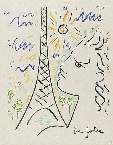 JEAN COCTEAU (1889-1963) TETE DE FAUNE DEVANT TOUR EIFFEL Lithographie