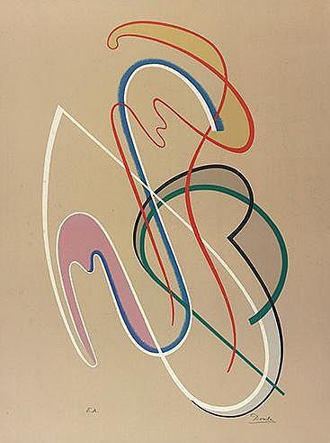 CESAR DOMELA (1900-1992) SANS TITRE Lithographie en couleurs Signée et