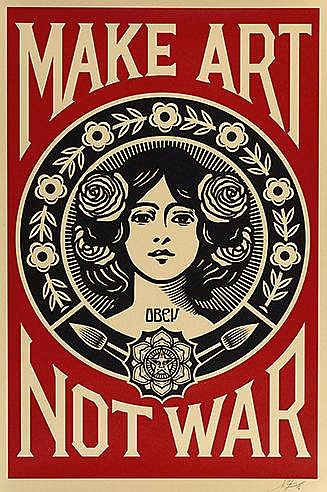 SHEPARD FAIREY (OBEY GIANT DIT) (NE EN 1970) MAKE ART NOT WAR, 2015 Sé