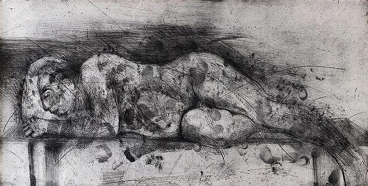 WILLIAM KENTRIDGE (NE EN 1955) SLEEPER I, 1997 (Krut, 66) Planche de l