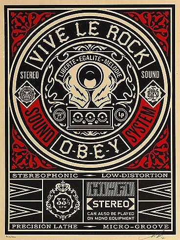 SHEPARD FAIREY (OBEY GIANT DIT) (NE EN 1970) VIVE LE ROCK, 2012 Sérigr