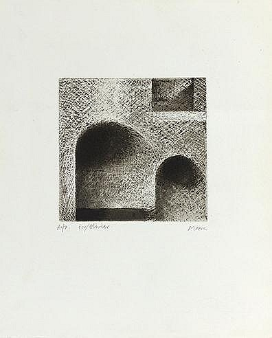 HENRI MOORE (1898-1986) TUNNEL ARCH AND WINDOW, 1971 (Cramer, 174) Eau