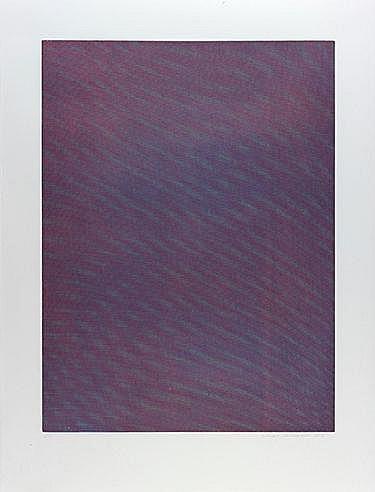 TAUBA  AUERBACH (NEE EN 1981) MESH/MOIRE IV, 2012 Eau forte et aquatin
