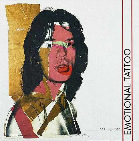 ANDY WARHOL (1928-1987) EMOTIONAL TATTOO Mick Jagger-Rare pochette vin